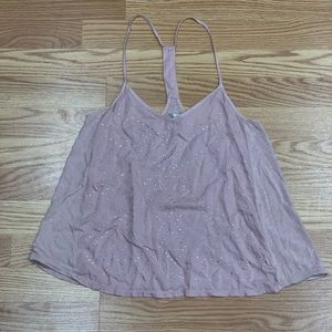 American Eagle | Pink Bedazzled Front Tank Top M